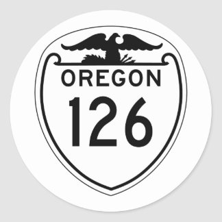 Carretera estatal 126, Oregon, viejo estilo 1948 Pegatina Redonda