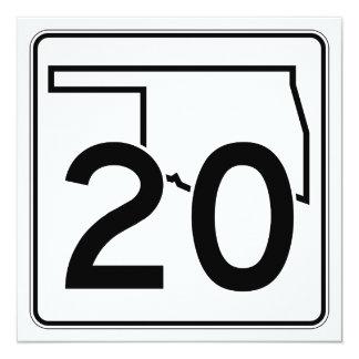 """Carretera estatal 20 de Oklahoma Invitación 5.25"""" X 5.25"""""""