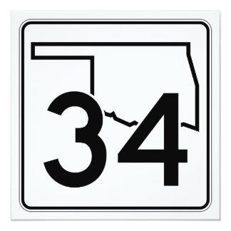 """Carretera estatal 34 de Oklahoma Invitación 5.25"""" X 5.25"""""""