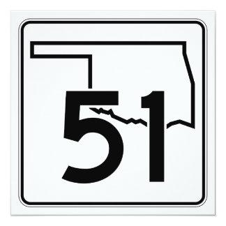 """Carretera estatal 51 de Oklahoma Invitación 5.25"""" X 5.25"""""""