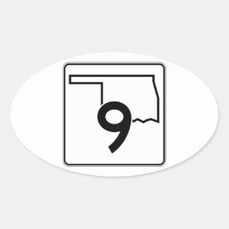 Carretera estatal 9 de Oklahoma Pegatina Ovalada