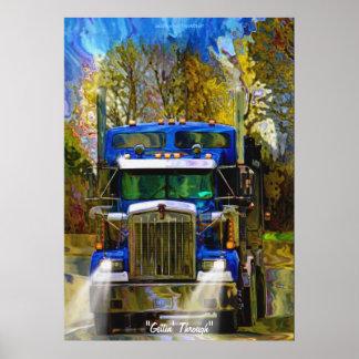 Carretera grande del camión del aparejo que conduc impresiones