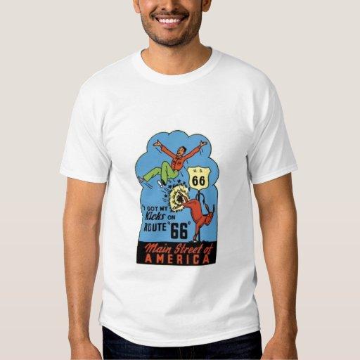 Carretera los E.E.U.U. 66--Camiseta de los años 50 Remeras