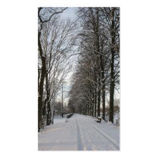 Carretera nacional con los árboles y la tarjeta de tarjetas de visita
