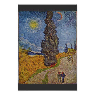 Carretera nacional con los cipreses de Vincent van Póster