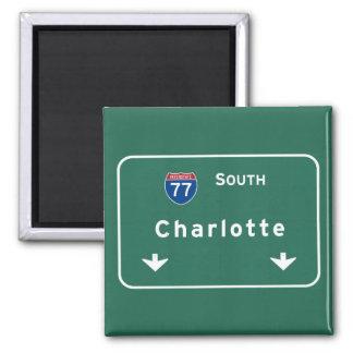 Carretera nacional de Charlotte Carolina del Norte Imán Cuadrado
