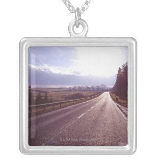 Carretera principal con el invierno bajo sun. colgante cuadrado