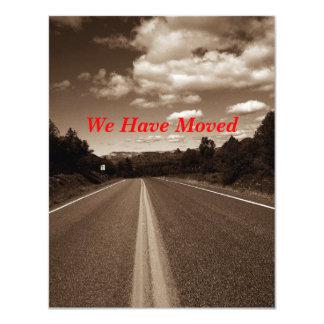 """Carretera retra de la sepia hemos movido la invitación 4.25"""" x 5.5"""""""