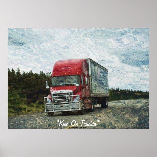 Carretera roja del camión que conduce el poster de