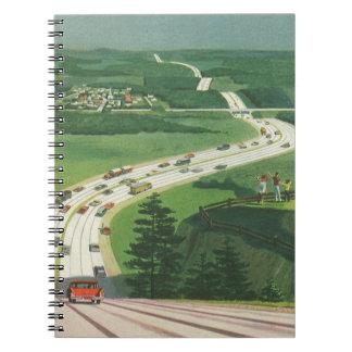 Carreteras americanas escénicas del vintage, viaje libreta espiral