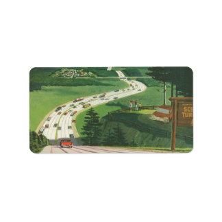 Carreteras americanas escénicas del vintage, viaje etiquetas de dirección