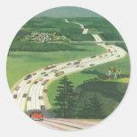 Carreteras americanas escénicas del vintage, viaje etiquetas redondas