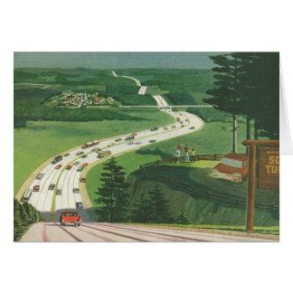 Carreteras americanas escénicas del vintage, viaje tarjeta de felicitación