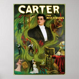 Carretero el acto mágico del vintage misterioso de póster