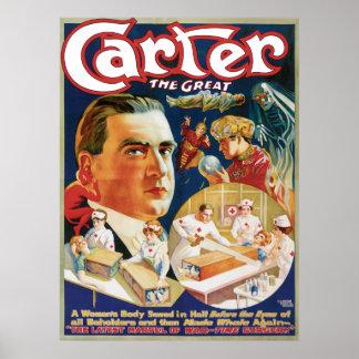 Carretero el gran anuncio del mago del vintage poster