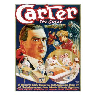 Carretero el gran anuncio del mago del vintage tarjetas postales