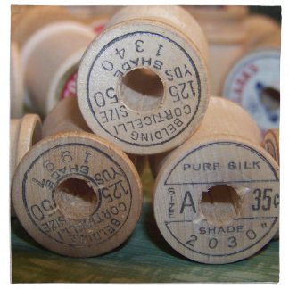 Carretes del vintage del hilo servilleta de papel