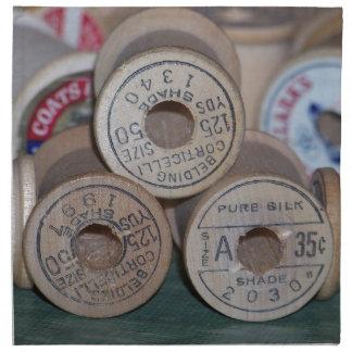 Carretes del vintage del hilo servilletas imprimidas