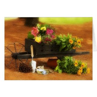 Carretilla de flores tarjeta de felicitación