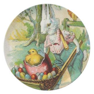 Carretilla de rueda antigua del conejito de la pos platos para fiestas