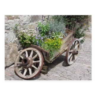 Carretilla del jardín del vintage con las flores tarjetas postales