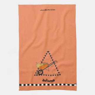 Carretilla del otoño toallas de cocina
