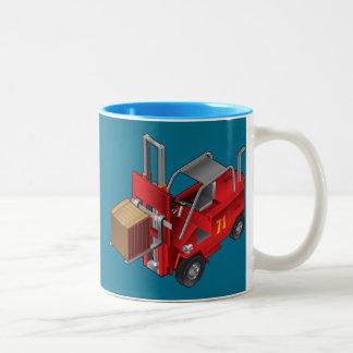 Carretilla elevadora, diseño del camión de taza de café de dos colores