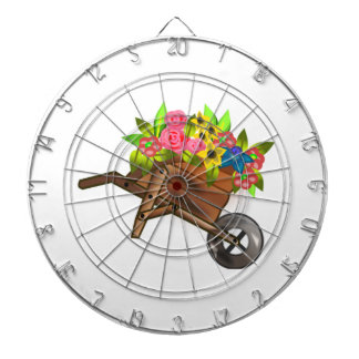Carretilla por completo de flores tabla dardos