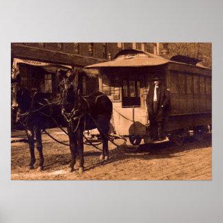 Carretilla traída por caballo de Brownstown Indian Póster