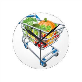 Carretilla vegetal del carro de la compra relojes