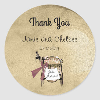 Carriage and Horses Thank You Classic Round Sticker