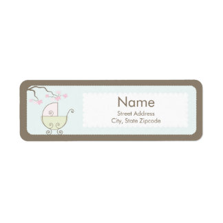 Carriage Baby Shower Addess Label - Pink Green