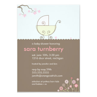 """Carriage Baby Shower Invitation - Pink and Green 5"""" X 7"""" Invitation Card"""