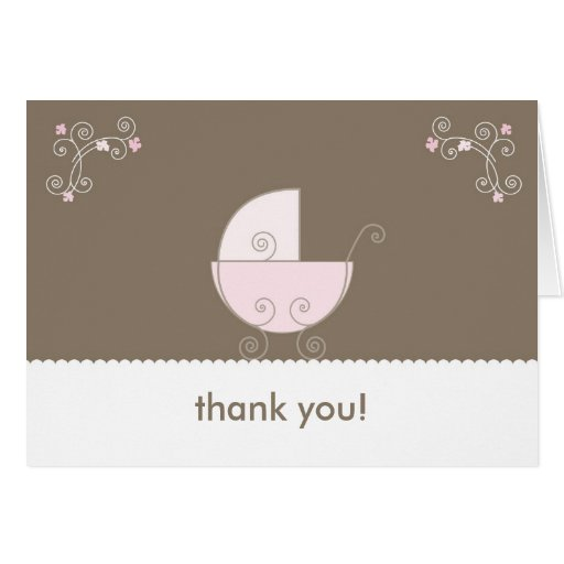 carriage baby shower thank you pink card