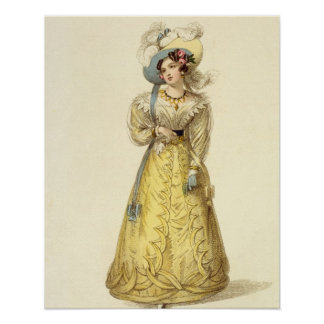 Carriage Costume, fashion plate from Ackermann's R Poster