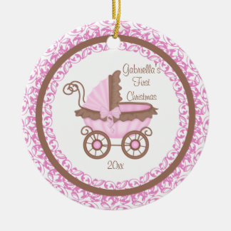 Carriage Girl Baby's First Christmas Ornament