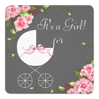 Carriage Gray Pink Rose Baby Shower Invitations