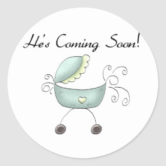 Carriage He's Coming Soon Classic Round Sticker