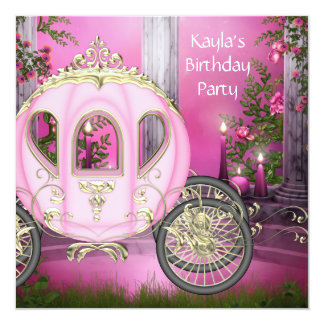 Carriage Pink Princess Birthday Party Card