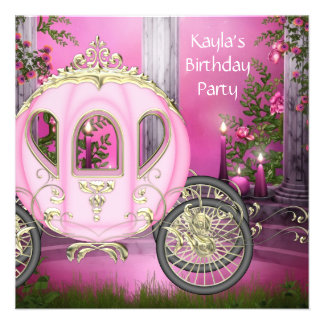 Carriage Pink Princess Birthday Party Announcements