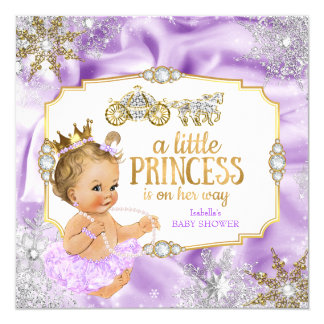 Carriage Princess Baby Shower Purple Blonde Card
