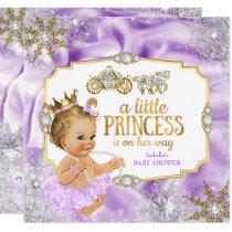 Carriage Princess Baby Shower Purple Blonde Invitation