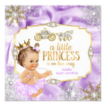 Carriage Princess Baby Shower Purple Brunette Card