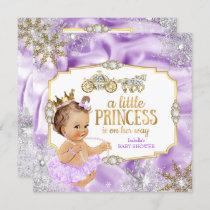 Carriage Princess Baby Shower Purple Brunette Invitation