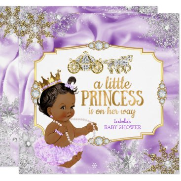 Toddler & Baby themed Carriage Princess Baby Shower Purple Ethnic Card