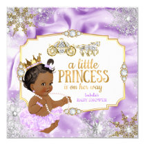 Carriage Princess Baby Shower Purple Ethnic Card