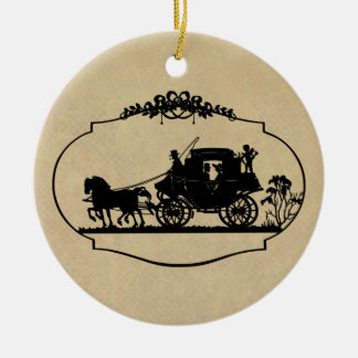 Carriage Ride With Cupid Apparel and Gifts Ornaments