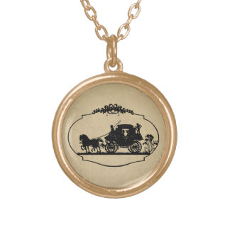 Carriage Ride With Cupid Apparel and Gifts Round Pendant Necklace
