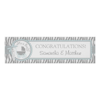 Carriage, Zebra Print & Blue Baby Shower Banner
