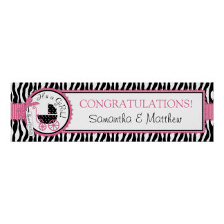 Carriage, Zebra Print, Hot Pink Baby Shower Banner